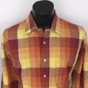 Alan Flusser Button Up Shirt Checker Plaid XL